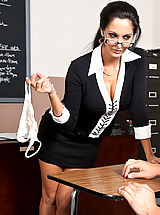 Sexy Secretary, Ava Addams shows one of her students what it takes to get an A in her class.