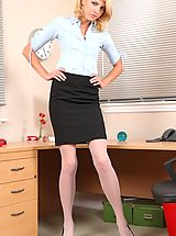Secretaries, Slender secretary flirts with her colleagues before teasing them with her hot nude body.