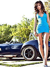 Open Legs, Beautiful Babe in Ford Shelby Cobra feat. Nika