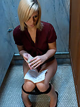 Sexy Secretary, Tara busted for glory hole and gets bound and fucked.