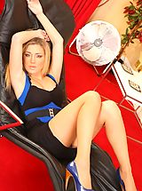 Classic Pumps, Delightful blonde Tindra relaxes in her tight minidress.