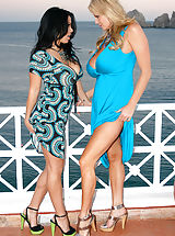 High Heels Legs, Kelly and Sienna enjoy the ocean breeze as they suck on pussy in Cabo.