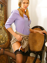 Between Her Legs, Gorgeous Veronica the secretary with stockings