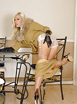 Slutty couger Michelle in nylons and sheer panties