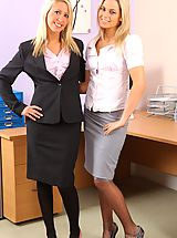 Sexy Secretary, This blonde duo look stunning as they strip each other out of ther office wear