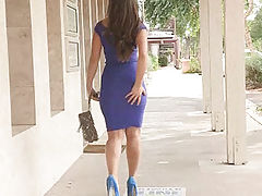 Sofia walks in public and flashes breasts