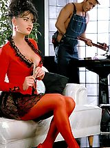 Suze Randall Pics: A big-breasted, beautiful desperate housewife Andrea fucks an Italian very well-endowed plumber stud!