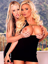 Busty blonde mega-babes Diamond Foxxx and Carolyn Reese strip each other down for some luscious lesbian lovin'!