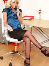 Sapphic Erotica Pics: Hannah the delightful secretary in stockings