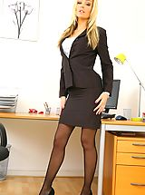 Beauty secretary in miniskirt and satin lingerie.