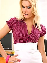 Secretary Pics: Blonde looks stunning in her office wearing a tight blouse and a tight long white skirt.
