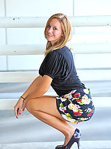 Blue High Heels, Summer gives upskirt glimpses