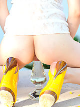 Teen Dreams Pics: Mealynn takes on a huge glass FTV toy