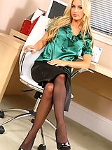 Sexy Secretary, Natasha looks amazing as she undressed out of her silk green blouse and skirt in the office.