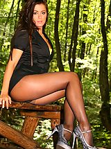 Stocking High Heels, Cute brunette Natalia wearing miniskirt and black pantyhose.