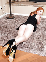 Stiletto Heels, Alex Tanner - Beautiful redhead Alex Tanner gives a perfect view of her juicy pink twat