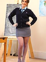 Office Sex, Bubbly Emily teasing in the classroom in her pantyhose
