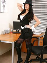 Sexy Secretaries, Glorious secretary in tight top and shorts.
