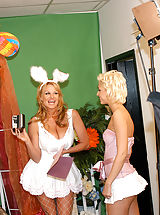 Open Legs, Kelly and Christine take turns hopping up and down on the Easter bunnies cock.