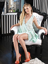Long Legs, Top Hottie 890 Cayenne Klein gives her damp slit