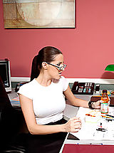 Naughty America Pics: Kortney Kane enjoys her lunch break at work by having her co-worker lick her pussy.