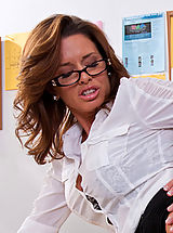 Sexy teacher Veronica Avluv squirts all over a big cock.
