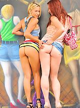 white upskirts, Lena and Melody Public Fun